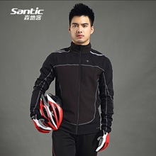 2018 Men Santic Thermal Cycling Jacket Winter Fleece Bicycle Windproof Warm Cold Antistatic Sports Coat MTB Bike Jersey