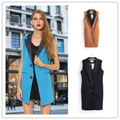 3 Colors Hot Fashion New Spring Casual Slim Sleeveless Pockets Splice Outer Women Vest Jacket