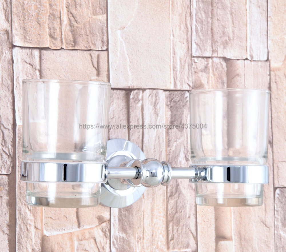 Bathroom Polished Chrome Toothbrush Holder + Two Glass Cups Wall Mounted Bathroom Accessories Nba799 image