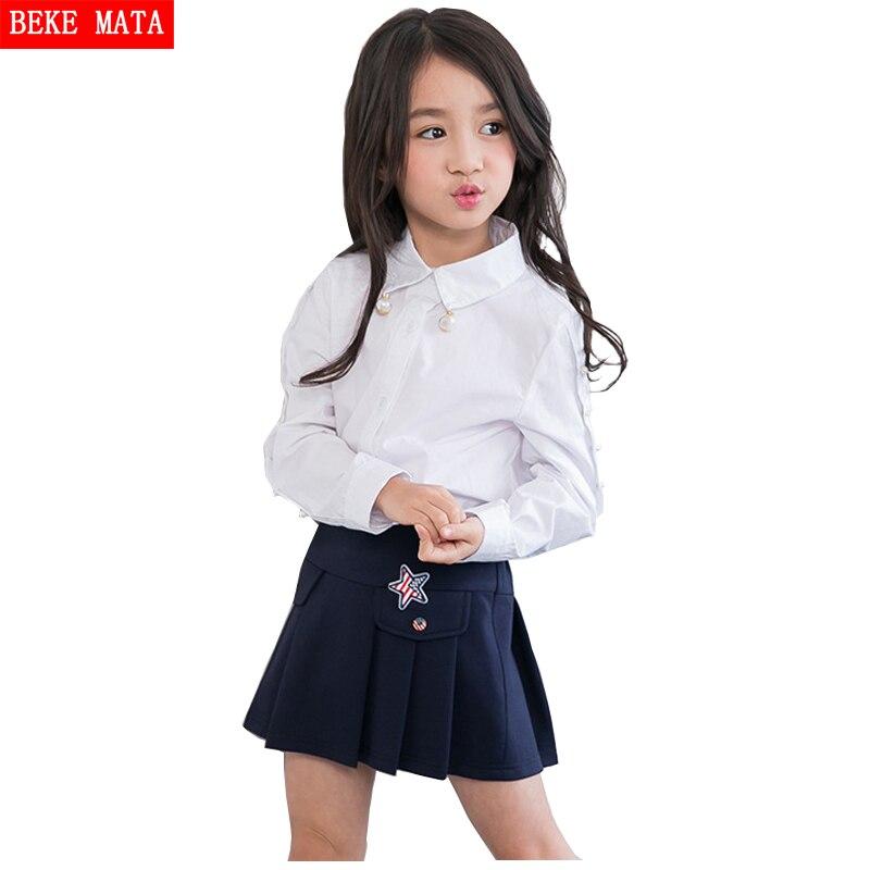 32243bb1b38f Blusas blancas para niñas de la escuela 2016 de otoño blusas de manga larga  para niños para niñas blusa niña perla sólida blusas para niñas