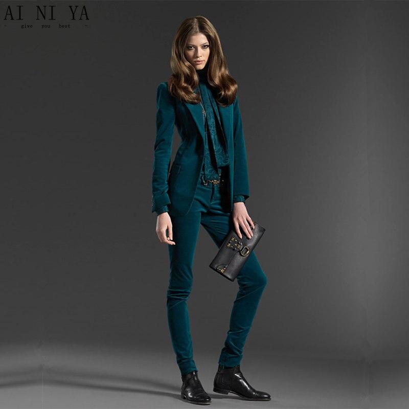 Темно зеленый комплект из 2 частей для женщин бархатные женские Блейзер делового костюма с брюки slim fit дамы Офис форма формальные брючный ко