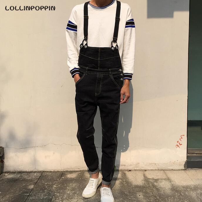 Men Black Denim Overalls Bib Jeans New 2017 Male Overall Jeans With Suspenders Garment Washed Free Shipping composite av cvbs 3rca to hdmi video converter adapter full hd 720p 1080p for hdtv vcr dvd vhs ps3 xbox white new