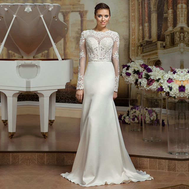 Sheer Lace Long Sleeve Satin Mermaid Wedding Dresses Backless Bride ...