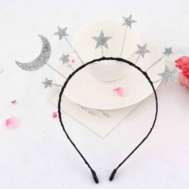 Princess Girl Halloween Party Crown Headband Glitter Powder Moon Star Charms Metal Alloy Hair Hoop Birthday Tiara Headpiece Gift