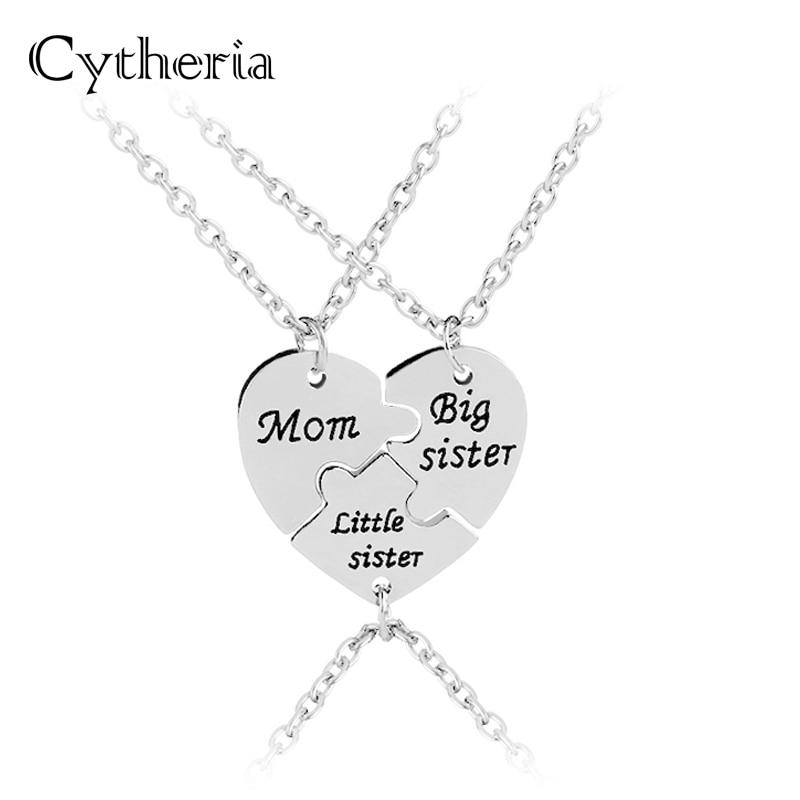 Ожерелье для мамы, Большой Сестры, маленькая сестра, колье для мамы и дочки, семейные ювелирные изделия, сердечко, будет связаться вместе