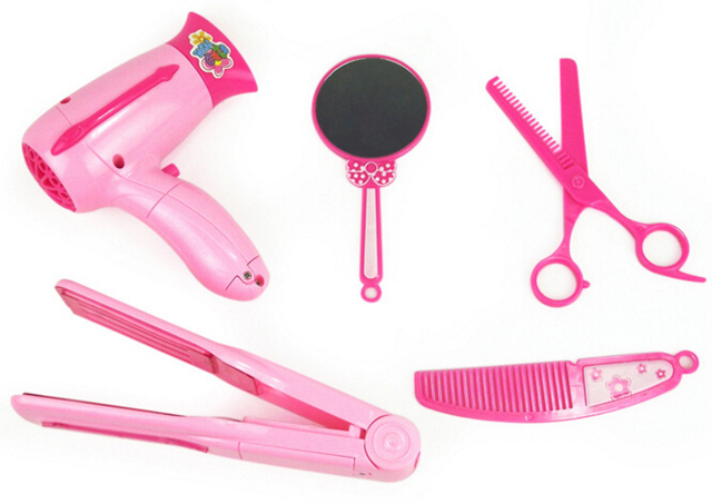 new arrival 5pcs set kid play house toy haircut dryer mirror comb