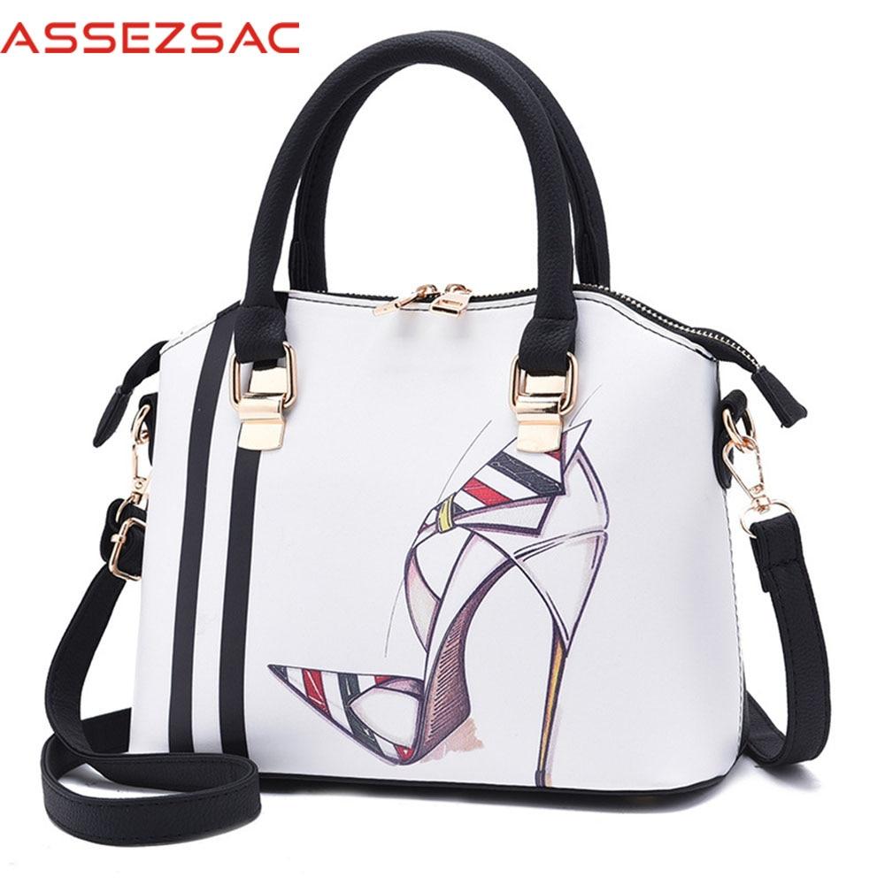 Assez sac new women leather handbags fashion women messenger bag crossbody print handbag ladies totes bag pouch bolsas