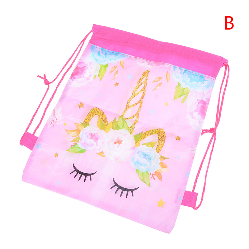 34cm*27cm  Kids Cartoon Theme Unicorn Bags Fashion Unicorn Drawstring Bag Unicorn Drawstring Backpack 2Styles
