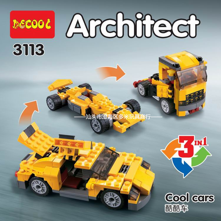 DECOOL 3113 City Creator 3 in 1 <font><b>Cool</b></font> Cars Sports car Truck Building Blocks <font><b>Kids</b></font> <font><b>Toys</b></font> Compatible Legoings image