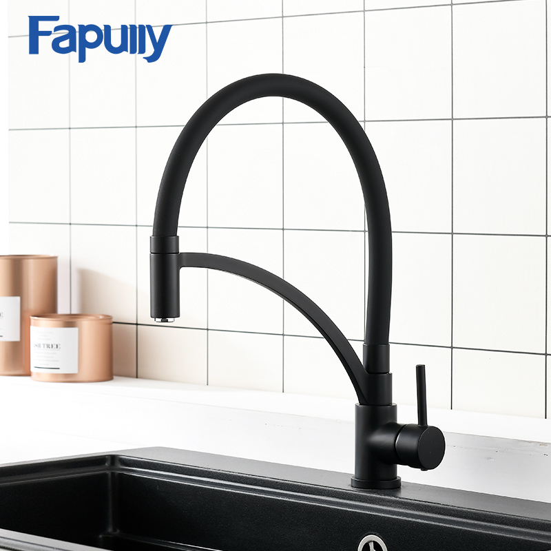 Robinet de cuisine noir Fapully nouveau Design double évier mélangeur d'eau chaude froide robinet de cuisine 360 degrés robinets en laiton rotatifs 931