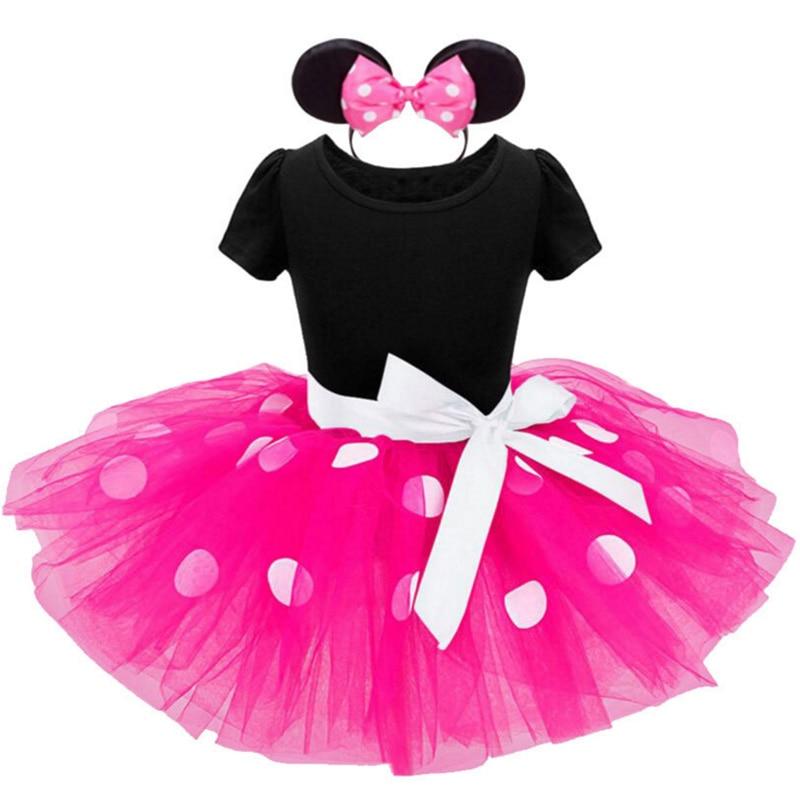 2pcs Summer Baby Girl Dress Cotton Baby Girl Clothes Mickey Newborn Baby Clothes Children Dress Roupas Bebe Girl Headband