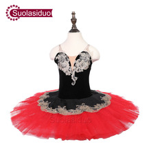 Girls Black Ballet Tutu Swan Performance Stage Wear Children Professional Dance Competition Costumes Adult