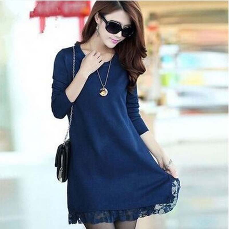 2016 Autumn Winter Knitted Pullover Sweater Long-sleeve Basic Sweater Sexy Women Dress Female Plus Size Casual Lace Dress AE998