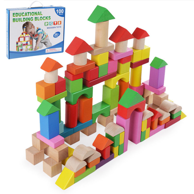 100pcs Educatioanl Building Blocks Rainbow Colorful Wood Building Kits Geometric Shape Wooden Toys for Children Baby Toy elc 100 bricks toy wooden building blocks storage bag confirm to en 71 freeshipping