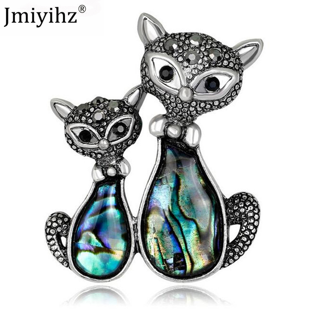 Jmiyihz Cute Double Cats Brooches Vintage Jewelry Black Rhinestone Wome s  Brooches Animal Punk Cat Brooch Clothes Accessories 3908dc6aa6ce