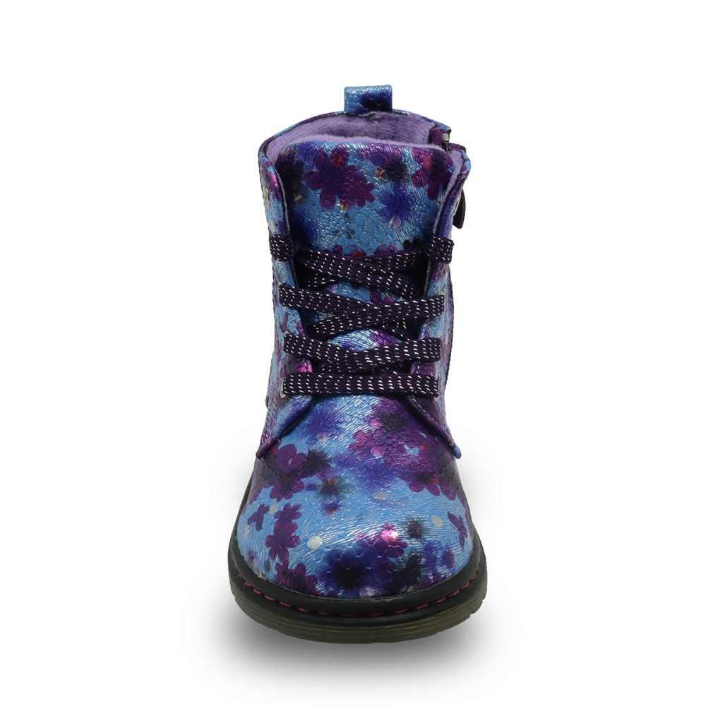 Apakowa Демисезонный модные 3D с цветами для детей; женские ботильоны из искусственной кожи, для детей; для детей ясельного возраста сапоги Martin для девочек EU 21-31