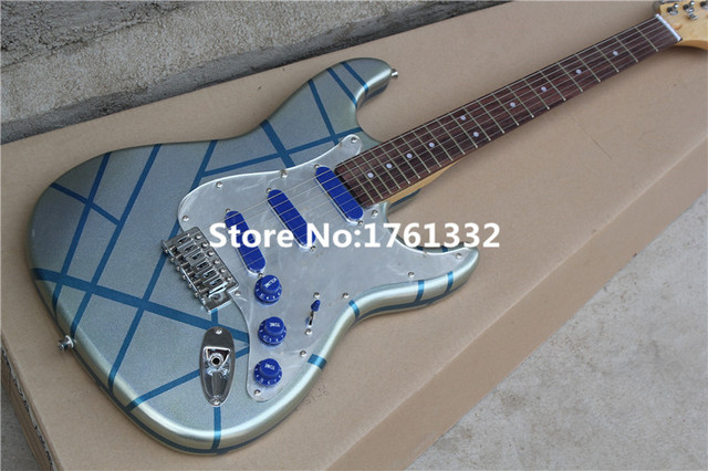 factory custom silver body blue line electric guitar with pentagram