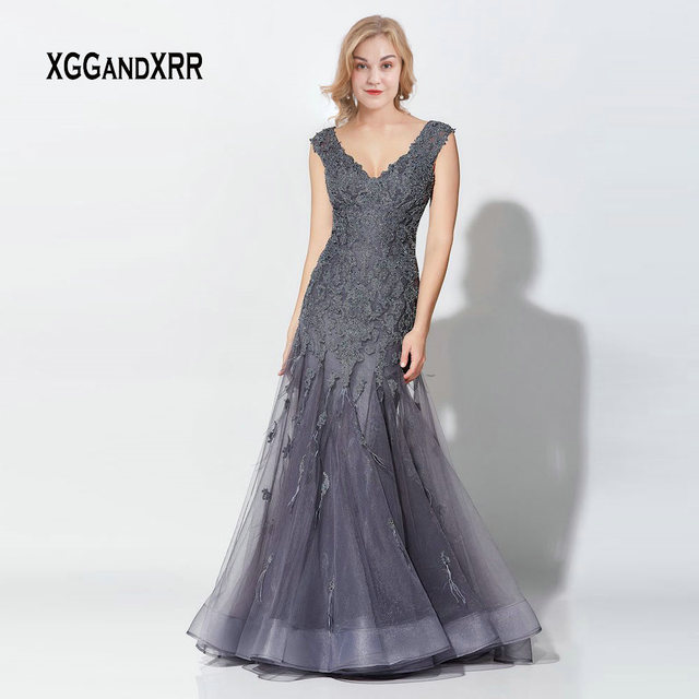Elegant Gray Mermaid Mother Of Bride Dresses 2019 Long Evening Dress Beading Lace Applique Feather Woman Formal Party Gown