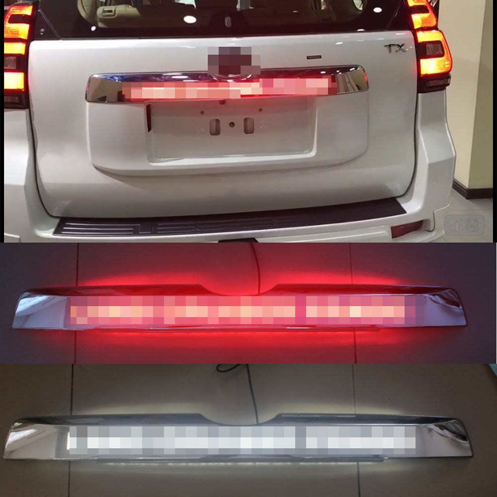 Image 1 - Car Chrome LED Trunk Lid Cover Braking Light Driving Light For Toyota Prado 150 Land Cruiser Prado FJ150  2018 AccessoriesChromium Styling   -