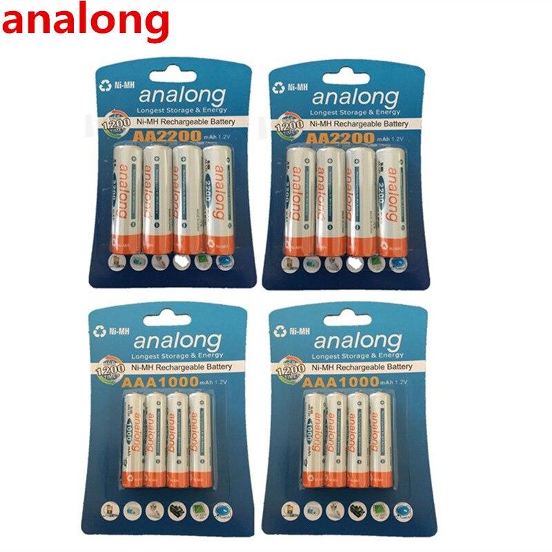Analong 1.2 V 2200 mAh batería recargable AA + y 1000 mAh AAA Baterías recargables