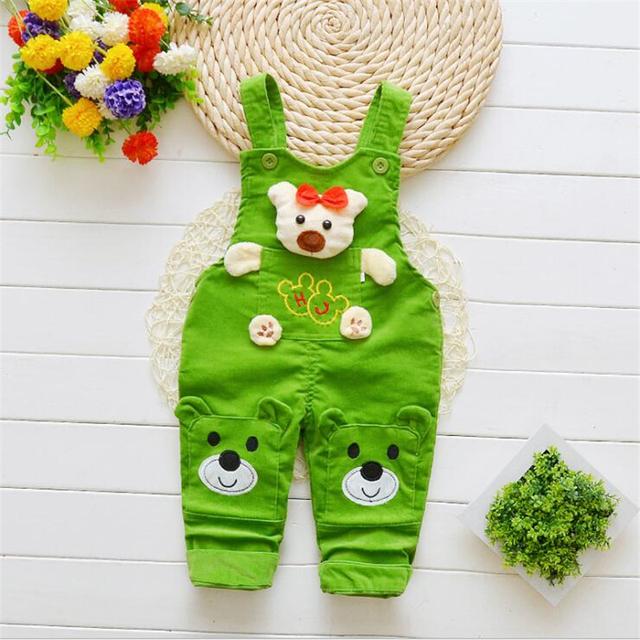 BibiCola Baby Boys Pants 2018 Spring Autumn Kids Cartoon Jeans for Little Boys Strap Children Baby Winter Cartoon Warm Bib Pants