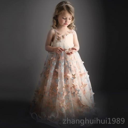 Floral Flower Girl Dress Bridesmaid Princess Birthday Pageant Tulle Gown Ball marfoli girl princess dress birthday