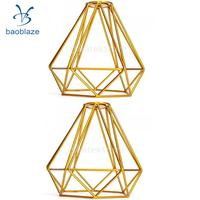 Pack of 2 Home Decorative Wire Diamond Loft Pendant Ceiling Light Cage Lamp Shade Gold