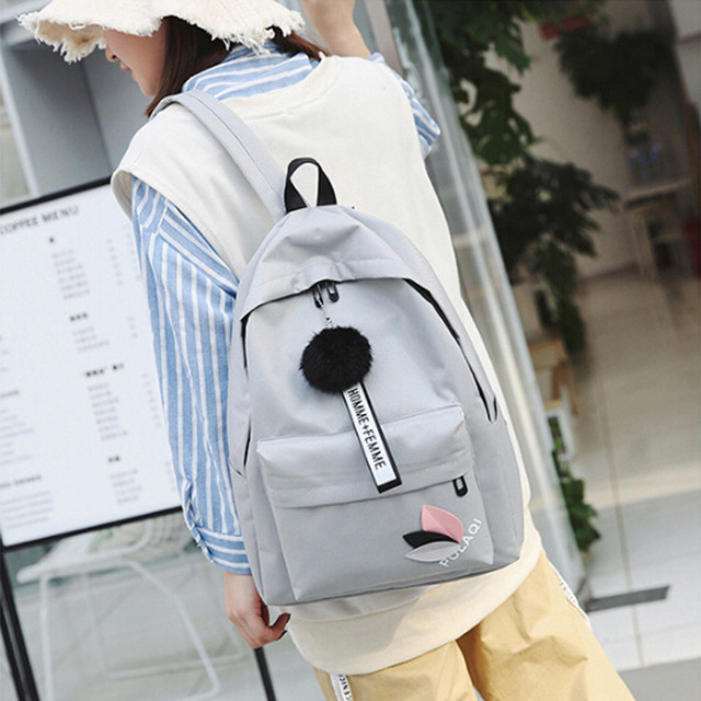 859d3a1ba08c Ocardian women backpack pure color hairball backpack female for school in  korean style school backpack A