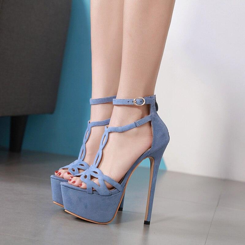 Plattform Sandalen Heels High Blue Wildleder apricot Schnalle Schuhe schwarzes Alias Sexy T strap Dias Toe Luxus Mujer Damen Frau Peep Zip Ferse Mode AYqx0w
