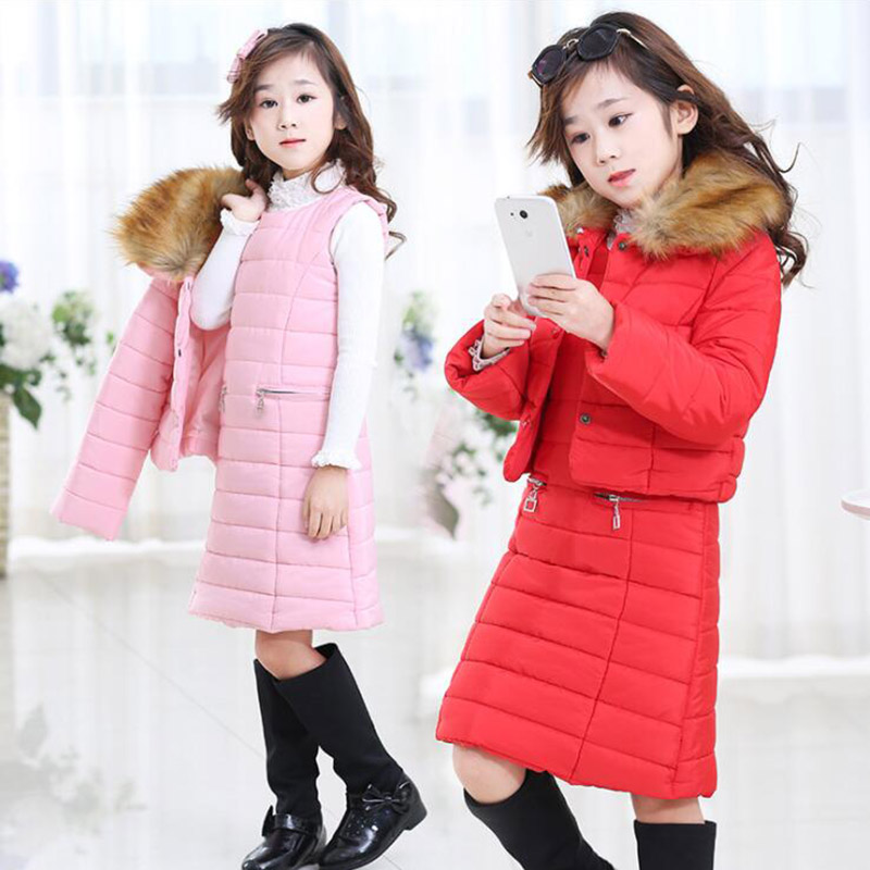 Winter warm cotton red pink jacket for girls children coat windbreaker kids clothes vest skirt for girls parka new fashion 2018 цена