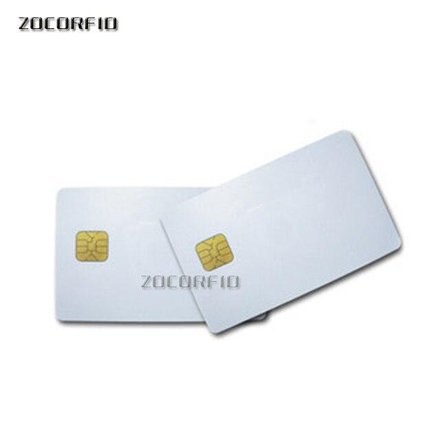 100pcs/lot SLE5528/SLE4428 con hi-co hico banda magnetica compatibile SLE4428 ISO 7816 smartcard sicuro blank smart IC card 3