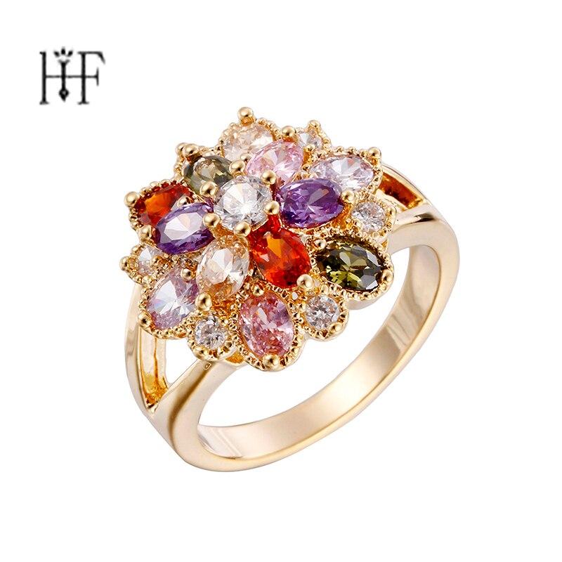 Das Beste Kinel Mode Österreich Kristall Blume Ring Silber Farbe Hochzeit Engagement Zirkonia Finger Ringe Für Frauen Vintage-schmuck Verlobungsringe