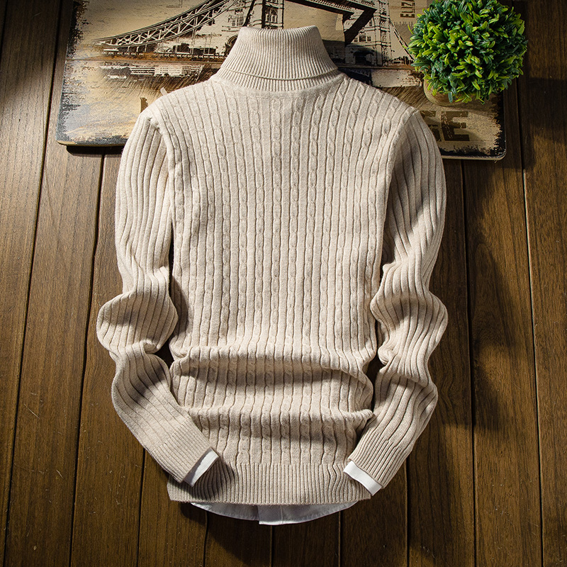Men's High Collar Pullover Stretch Tight Solid Color Knitted Sweater Autumn And Winter Warm Slim Men's Bottoming Sweater S-2XL