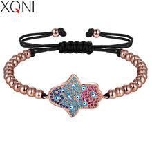 XQNI Colorful Bracelet Evil Eyes & 4mm Copper Bead & AAA Cubic Zirconia For Women Anti-allergy Jewelry not easy to fate Chain(China)