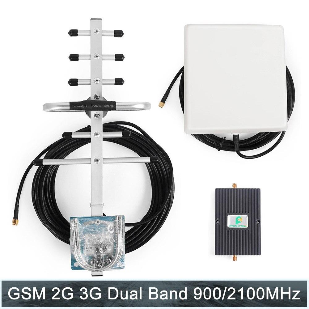 Répéteur gsm 3g 2100 2g amplificateur cellulaire 65dB double bande 900 MHz 2100 MHz répéteur de Signal de téléphone portable avec antenne