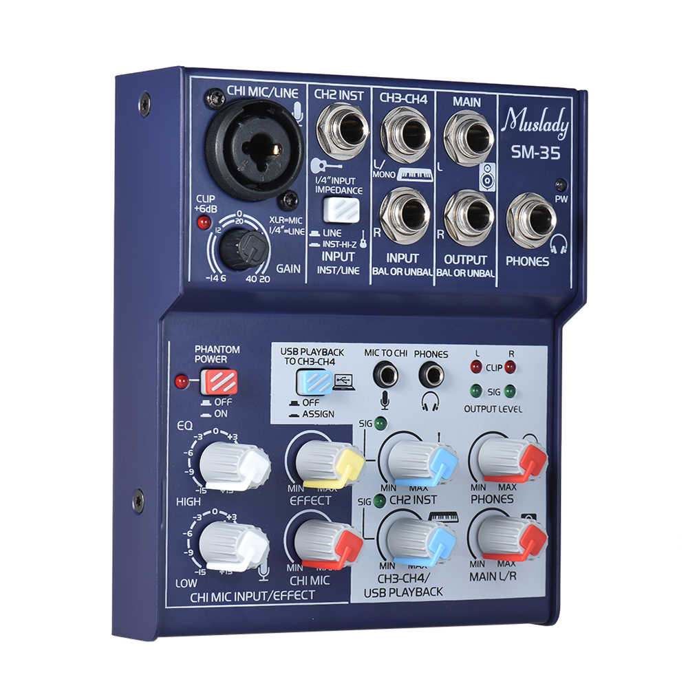 Muslady SM-35 Compact Size 4-Channel Sound Card Mixing Console Digital  Audio Mixer Supports 5V Power Bank USB Power Supply