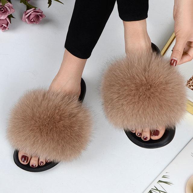 Kobiety lato swobodne futro kapcie płaskie antypoślizgowe stałe prawdziwe lisie włosy slajdy duże rozmiary kapcie darmowa wysyłka