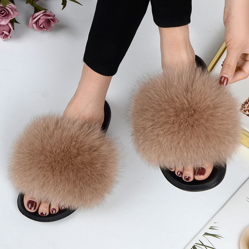 Women Summer Casual Fluffy Slippers With Fur Flat Non Slip Real Fox Fur Furry Slides Large Size Shoes Fur Sandals Free Shipping Slippers  - AliExpress