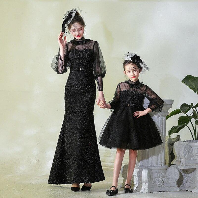 2019 maman et moi correspondant mère fille robes noir mode Dot Tulle maman et fille robe enfants Parent enfant tenues