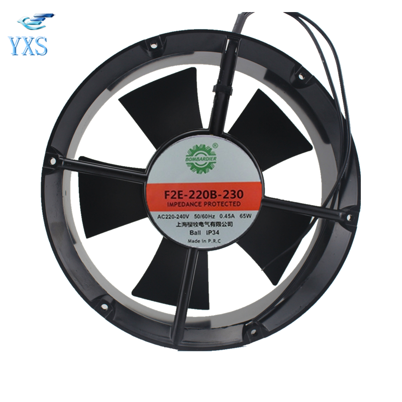 F2E-220B-230 AC 220V-240V 0.45A 65W 50/60HZ 2400RPM 22060 22CM 220*220*60mm 2 Wires Electric Welding Machine Cooling Fan tg17055ha2bl ac 220v 0 3a 46w 50 60hz 3100rpm double ball bearing 17255 17cm 172 150 55mm 2 wires silent cooling fan