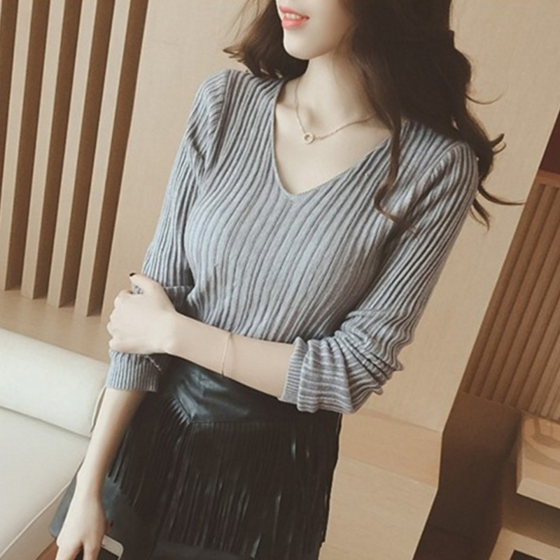 2018 new sexy Women solid sweater spring Autumn winter Long Sleeve V Neck Thin Slim Fit Knit Sweater Casual Shirt Pullover