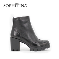 SOPHITINA Cow Leather Zipper Ankle Boots Woman Round Toe Brogue Style High Heel Handmade Short Boots