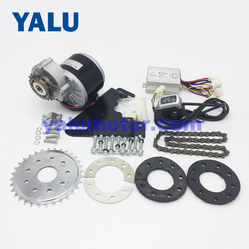 YALU 24V 36V 350W Left Side Chain Drive Brush Electric EBike Motor Kit Rear Wheel Gear Sprocket Electric Motor Bicycle Solution