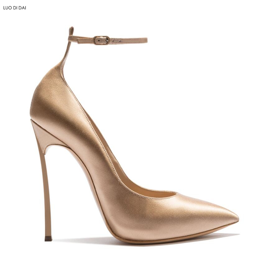 c498243acd3f 2019 New women ankle strap high heels thin heel pumps party shoes gold  pumps point toe dress shoes wedding heeled ladies-in Women s Pumps from  Shoes on ...