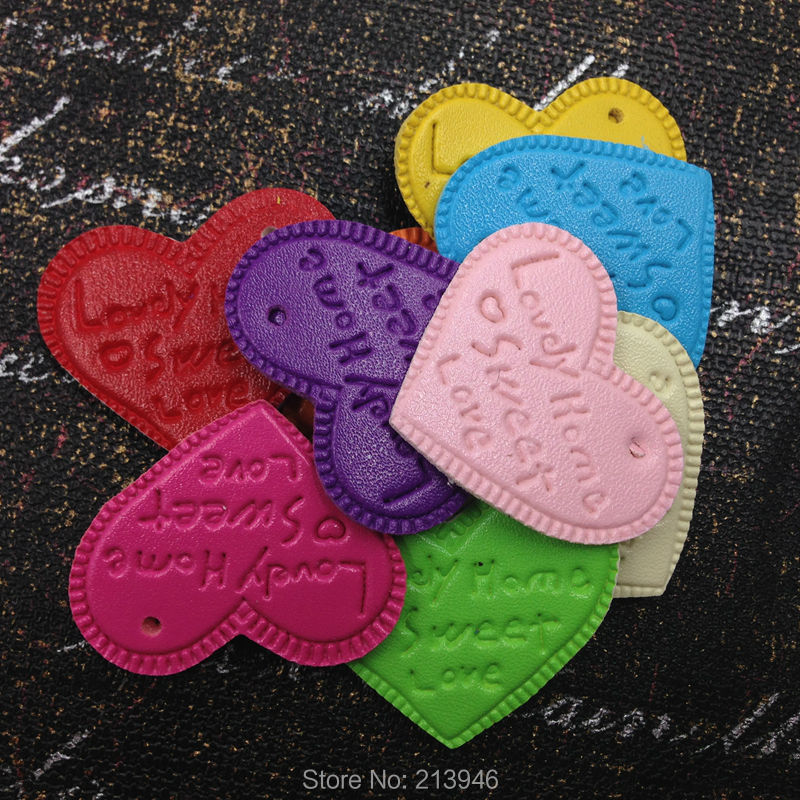 Beads Well-Educated 38*30mm 50pcs/pack  Colorful Heart  Pu Leather Necklace Pendant Jewelry Charms To Win A High Admiration