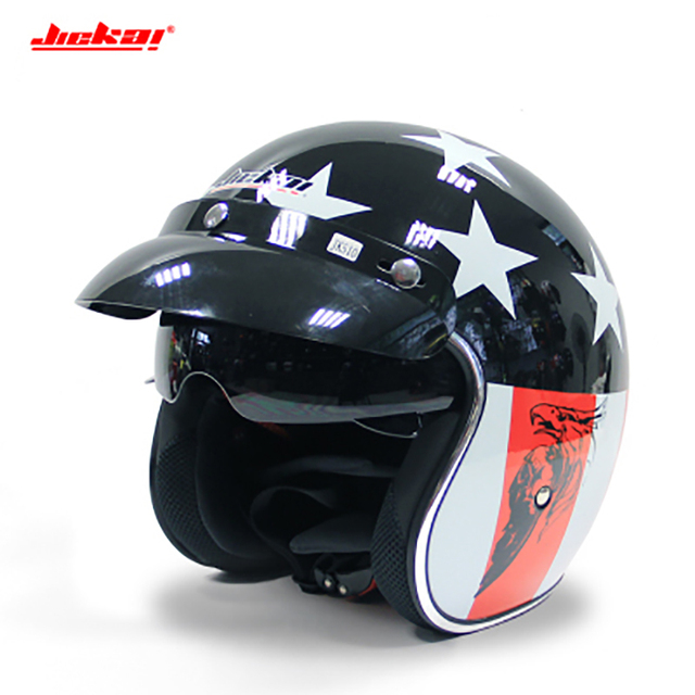 ae84bac0b3944 Jiekai Motorcycle Helmet 3 4 Open Face Vintage Casco Moto Jet Scooter Bike  Helmet Retro DOT approved Casque Motociclismo