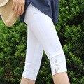 Mujeres calientes de la venta de más el tamaño S-XXXL verano de la cintura delgada del color del caramelo stretch polainas de los capris del lápiz de moda cultivos para mujer