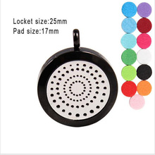 Free Shipping!(free pads) Black 25mm Screw aromatherapy diffuser locket necklace 316L stainless steel perfume jewelry