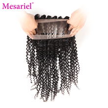 Mesariel Natural Black Color Non-remy Hair Brazilian Kinky Curly Hair 360 Lace Frontal Closure 100 Human Hair