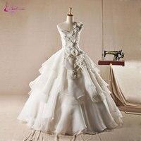 Waulizaneシルキーオーガンザ片方の肩ボールガウンのウェディングドレス床の長さアップリケビーズ真珠姫ティアード花嫁衣